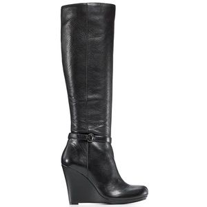 DKNY Black Patty Platform Wedge Suede Boots 7